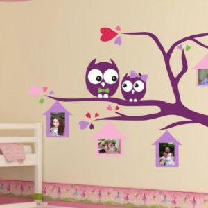 מדבקת קיר לחדר ילדים – דגם ינשופים